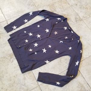 BDG Good Cond. Gray and Off White Stars Cardigan